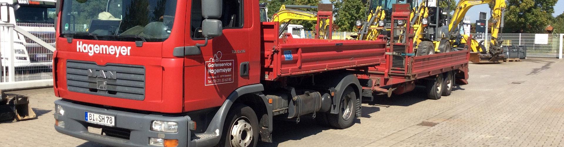 Unser LKW transportiert 3,5 t Zugmaschine und 8,5 t Anhänger